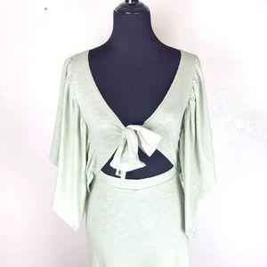ASOS Kimono Tie Front Cutout Jumpsuit Sage Green
